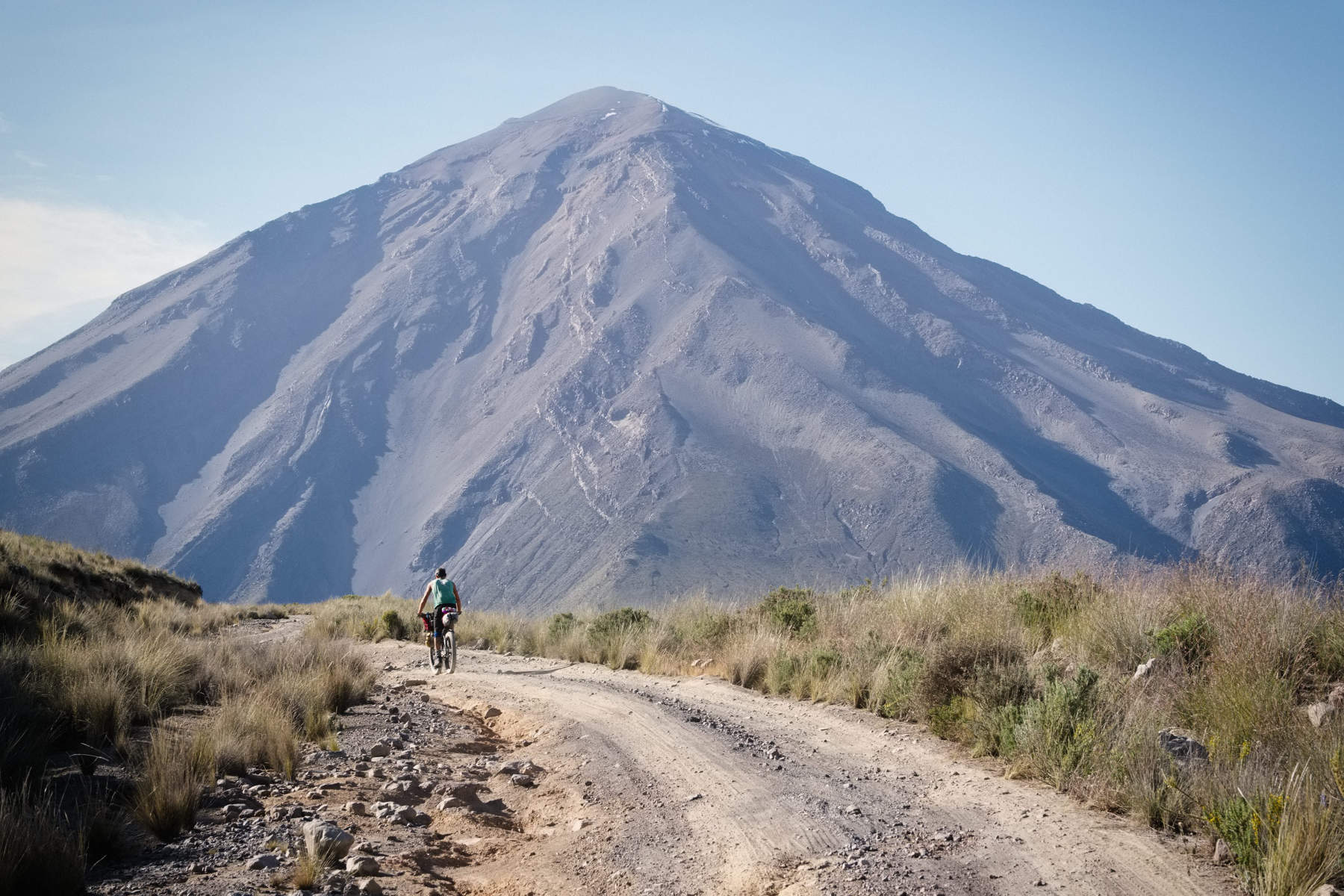 cycling past El Misti volcano