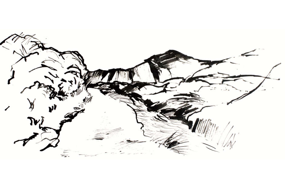 Landscape drawing in black and white